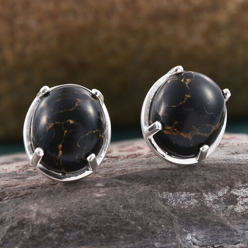 Arizona Black Mohave Turquoise (Ovl) Stud Earrings (with Push Back) in Sterling Silver 8.500 Ct.