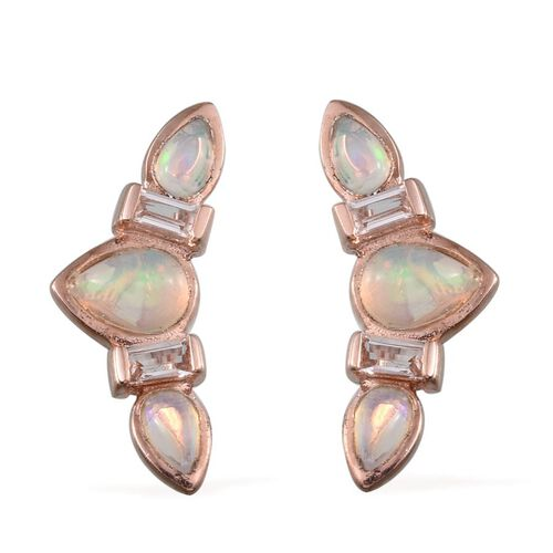 Ethiopian Welo Opal (Pear), White Topaz Climber Earrings in Rose Gold Overlay Sterling Silver 2.000 Ct.