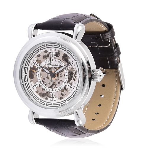 GENOA Automatic Skeleton Water Resistant Watch in Silver Tone with Glass Back and Black Colour Leather Strap