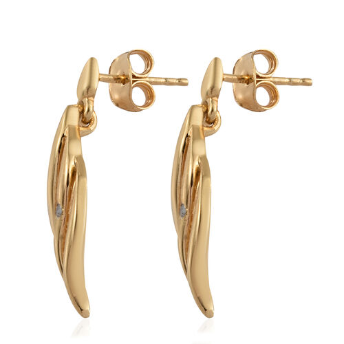 Diamond (Rnd) Earrings (with Push Back) in 14K Gold Overlay Sterling Silver