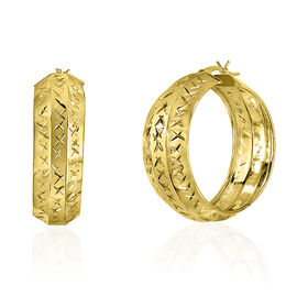 Vicenza Collection- 14K Gold Overlay Sterling Silver Diamond Cut Hoop Earrings (with Clasp), Silver wt 4.20 Gms.