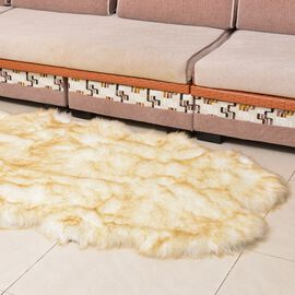 Supersoft Extra-Faux Sheep Skin Rug in White and Light Brown Colour (Size 180x100 Cm)