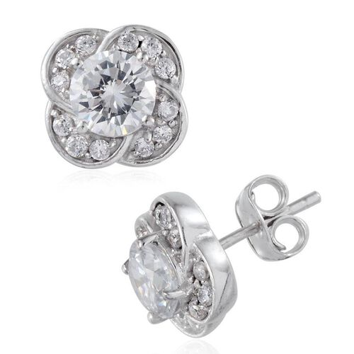 Simulated Diamond (Rnd) Stud Earrings (with Push Back) in Platinum Overlay Sterling Silver