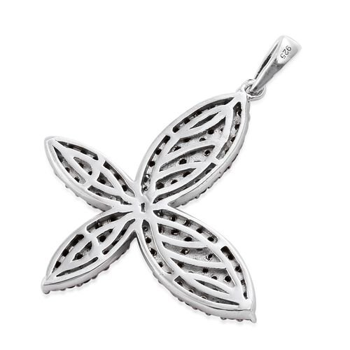 Boi Ploi Black Spinel (Rnd) Butterfly Pendant in Platinum Overlay Sterling Silver 2.250 Ct.