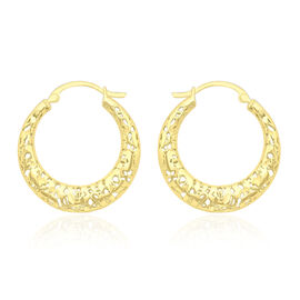 JCK Vegas Collection 9K Yellow Gold Hoop Earrings (with Clasp), Gold wt 2.10 gms