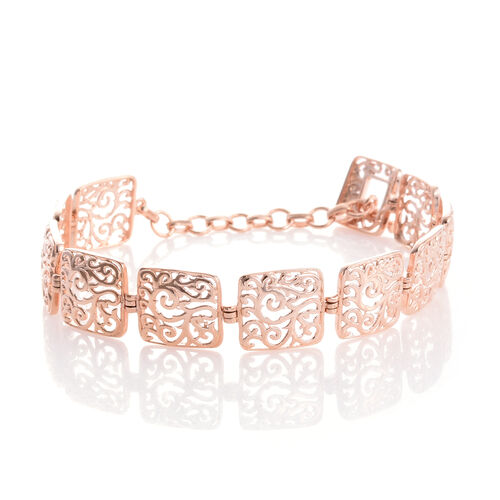 Designer Inspired - Rose Gold Overlay Sterling Silver Filigree Embellished Square Linked Bracelet (Size 7.5), Silver wt. 10.02 Gms.