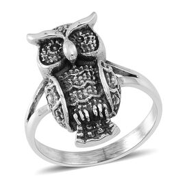 Thai Rhodium Plated Sterling Silver Owl Ring, Silver wt 5.80 Gms.