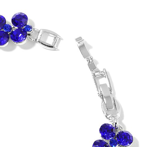 AAA Sapphire Blue Austrian Crystal Bracelet (Size 7.5 with Half inch Extender) in Silver Tone