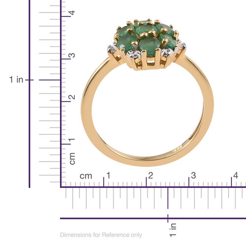 Zambian Emerald, Natural Cambodian Zircon 1.25 Ct Silver Cluster Ring in Gold Overlay