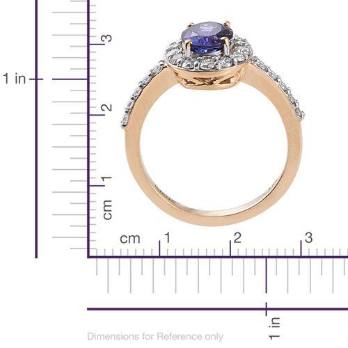 ILIANA 18K Yellow Gold AAA Tanzanite (Ovl 1.50 Ct) (Diamond SI G-H) Ring 2.000 Ct.