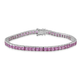9K W Gold AAAA Rare Pink Sapphire (Princess) Tennis Bracelet (Size 7.5) 11.500 Ct. Gold Wt 8.85 Gms.