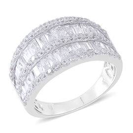 ELANZA AAA Simulated White Diamond (Bgt) Ring in Rhodium Plated Sterling Silver, Silver wt 5.50 Gms.