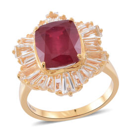 African Ruby (Cush 8.75 Ct), White Topaz Ring in 14K Gold Overlay Sterling Silver 14.500 Ct. Silver wt. 5.00 Gms.