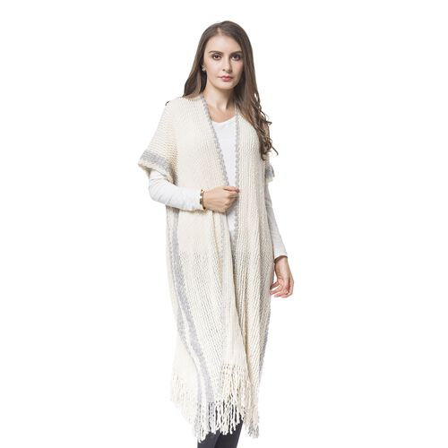Designer Inspired-Cream Colour Knitted Kimono with Tassels (Free Size)