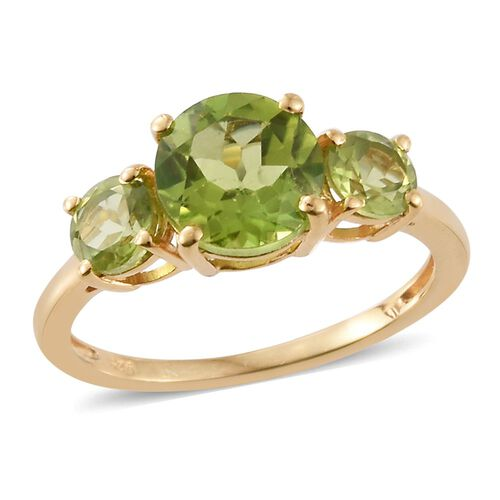 Hebei Peridot (Rnd 1.75 Ct) 3 Stone Ring in 14K Gold Overlay Sterling Silver 2.900 Ct.