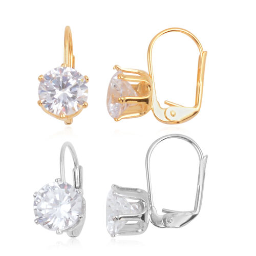 Close Out Deal Set of 2 - AAA Simulated Diamond (Rnd) Lever Back Earrings in Yellow and White Gold Bond