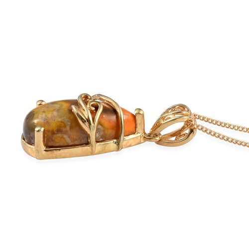 Bumble Bee Jasper (Pear) Solitaire Pendant With Chain in 14K Gold Overlay Sterling Silver 7.000 Ct.