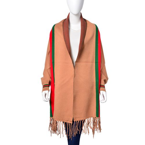 Designer Inspired - Camel, Red and Green Colour Stripe Pattern Longer Line Reversible Kimono with Tassels (Free Size)
