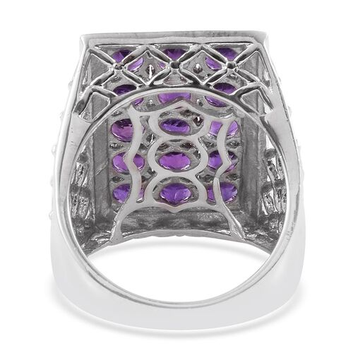 AA Lusaka Amethyst (Rnd) Ring in Platinum Overlay Sterling Silver 3.500 Ct.