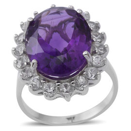 Extremely Rare Size -Amethyst (Ovl 18x13 mm 10.32 Ct), Natural White Cambodian Zircon Ring in Rhodium Plated Sterling Silver 13.380 Ct.