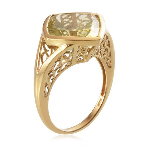 Brazilian Green Gold Quartz (Cush) Solitaire Ring in 14K Gold Overlay Sterling Silver 11.000 Ct.