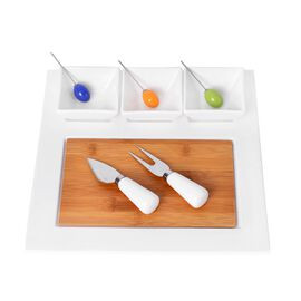 Kitchen Accessories - 3 Square Ceramic Bowls (Size 8X8X5 Cm), Ceramic Tray (Size 30X24 Cm), Bamboo Board (Size 21X13.5 Cm), 3 Fruit Folks, Cheese Knife and Cheese Fork in Stainless Steel