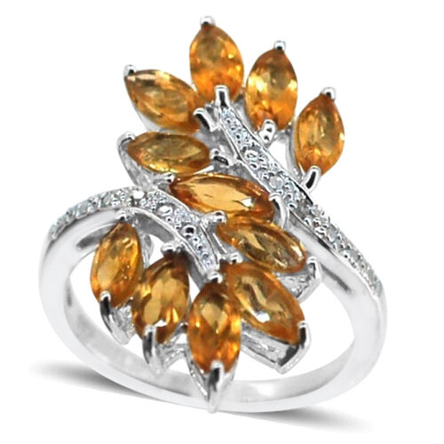 Citrine (Mrq), Diamond Crossover Ring in Rhodium Plated Sterling Silver 3.010 Ct.