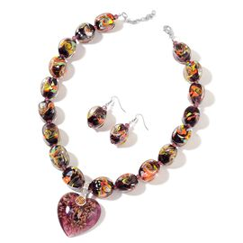 Purple Murano Glass, Amethyst and White Austrian Crystal Necklace (Size 21 with 2 inch Extender) and Hook Earrings in Silver Plated