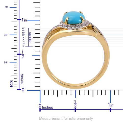 Arizona Sleeping Beauty Turquoise (Ovl 1.75 Ct), White Zircon Ring in Yellow Gold Overlay Sterling Silver 2.000 Ct.