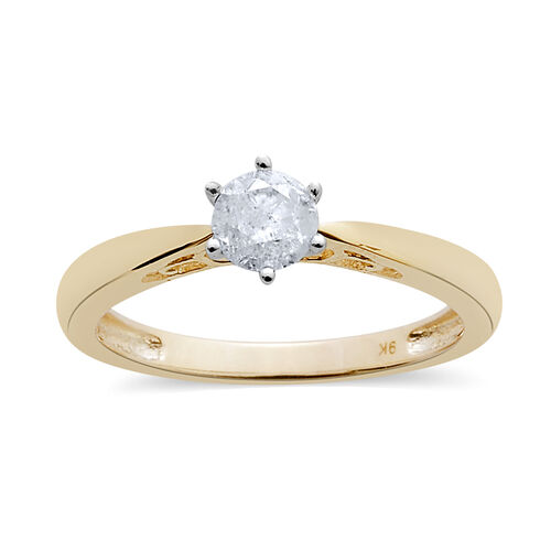 9K Yellow Gold 0.50 Carat Diamond Round Solitaire Ring SGL Certified I3 G-H.
