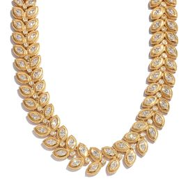 J Francis - 14K Gold Overlay Sterling Silver (Mrq) Leaves Necklace (Size 18 with 2 inch Extender) Made with SWAROVSKI ZIRCONIA Silver Wt 50.50 Gms