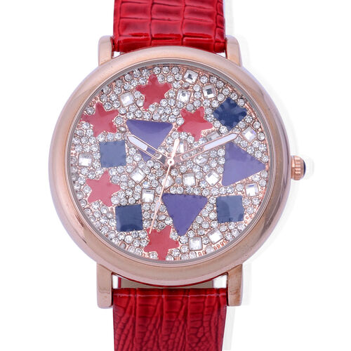 GENOA Japanese Movement Enameled Dial with White Austrian Crystal Water Resistant Watch in ION Plated Rose Gold with Red Strap