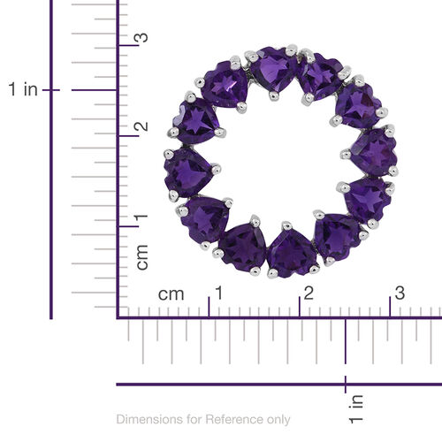 Amethyst (Hrt) Circle Pendant in Rhodium Plated Sterling Silver 5.000 Ct.