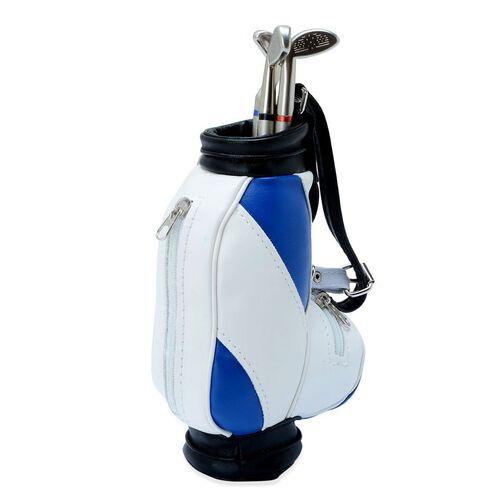 Home Decor - STRADA Japanese Movement White Dial Blue and White Colour Golf Bag Design Clock with Three Ball Point Pen