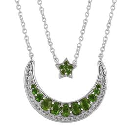 Russian Diopside (Ovl and Rnd), Natural White Cambodian Zircon Moon and Star Necklace (Size 18 with 6 inch Extender) in Rhodium Plated Sterling Silver 1.520 Ct. Silver wt 7.00 Gms.
