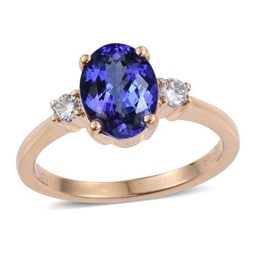 ILIANA 18K Yellow Gold AAA Tanzanite (Oval 2.00 Ct), Diamond (SI G-H) Ring 2.150 Ct.