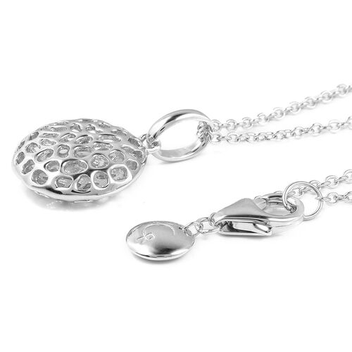RACHEL GALLEY Rhodium Plated Sterling Silver Memento Disc Pendant With Chain (Size 30), Silver wt. 6.06 Gms.