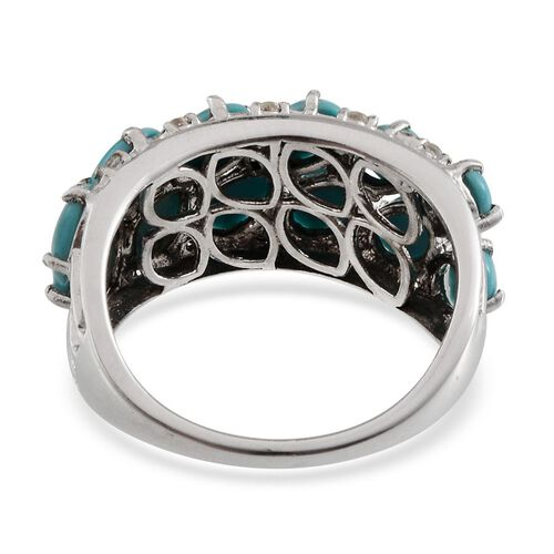 Arizona Sleeping Beauty Turquoise (Ovl), White Topaz Ring in Platinum Overlay Sterling Silver 3.750 Ct.