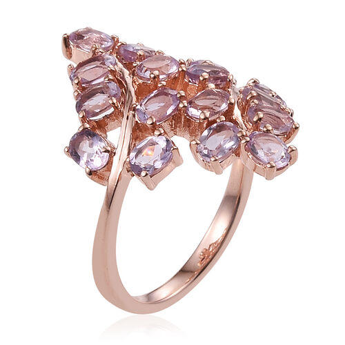 Rose De France Amethyst (Ovl) Leaves Crossover Ring in ION Plated 18K Rose Gold Bond 2.500 Ct.