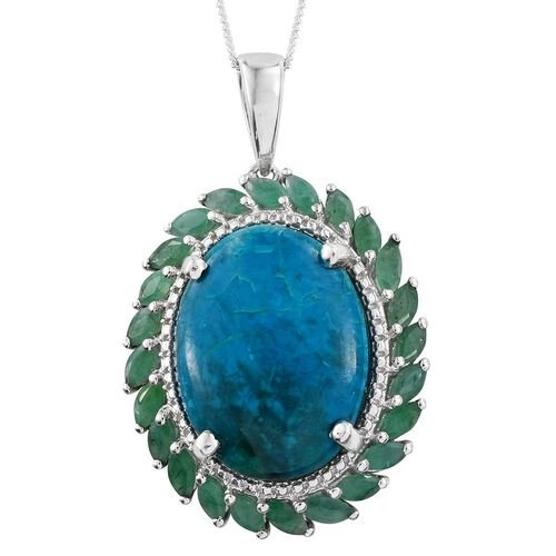 Natural Rare Opalina (Ovl 13.75 Ct), Brazilian Emerald Pendant With Chain in Platinum Overlay Sterling Silver 14.900 Ct.