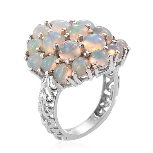 Ethiopian Welo Opal (Rnd) Cluster Ring in Platinum Overlay Sterling Silver 5.000 Ct.