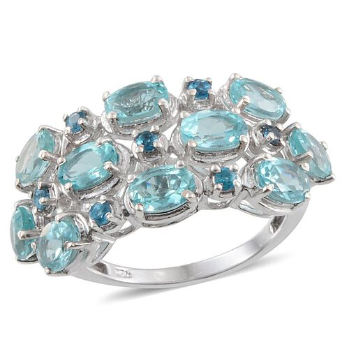 Paraibe Apatite (Ovl), Malgache Neon Apatite Ring in Platinum Overlay Sterling Silver 5.250 Ct.