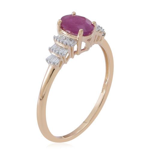 9K Y Gold AAA Burmese Ruby (Ovl 1.00 Ct), Diamond (I3/G-H) Ring 1.250 Ct.