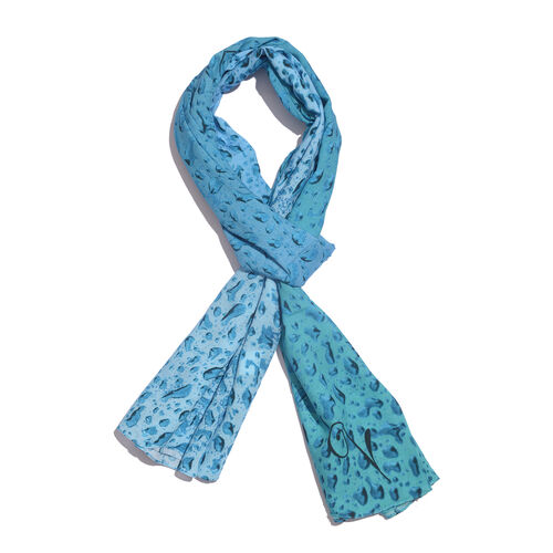 LucyQ Water Drops Digital Printed Turquoise and Blue Colour Scarf (Size 180x70 Cm)
