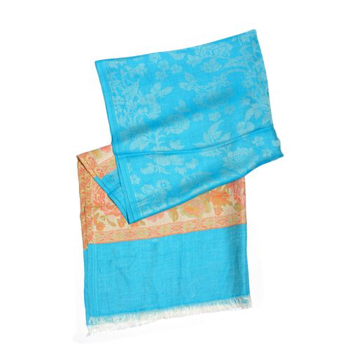 Kani Palla Weave- Blue Floral Pattern Scarf - 100% Modal  (Size 180x70 Cm)