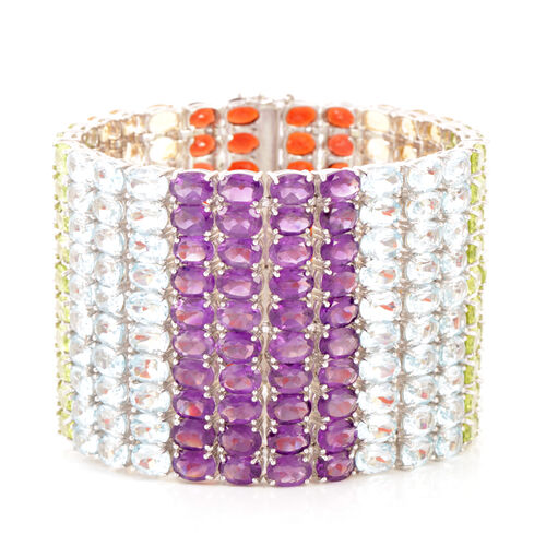 Limited Edition - Hand Made - AAA Hebei Peridot (Ovl), Sky Blue Topaz, Citrine, Garnet and Amethyst Rainbow Multi Row Bracelet in Rhodium Plated Sterling Silver (Size 7.5) 225.000 Ct.