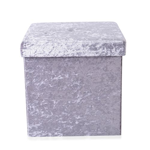 Grey Colour Stylish Crushed Velvet Foldable Seater Storage Ottoman (Size 38x38x38 cm)