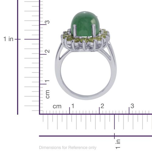 Emerald Quartz (Ovl 7.00 Ct), Hebei Peridot Ring in Platinum Overlay Sterling Silver 8.500 Ct. Silver wt. 5.40 Gms.
