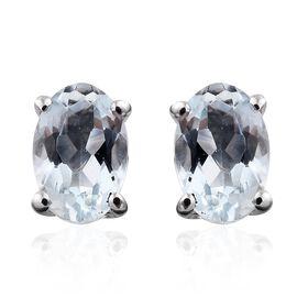 9K White Gold 0.75 Carat AA Espirito Santo Aquamarine (Ovl) Stud Earrings (with Push Back)