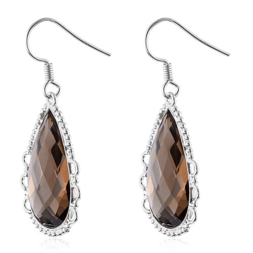 One Time Deal-Brazilian Smoky Quartz (Pear) Hook Earrings in Sterling Silver 34.060 Ct.